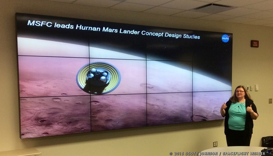 Tara Polsgrove of the MSFC Human Architecture team speaks on potential Mars landers. Photo Credit: Scott Johnson / SpaceFlight Insider