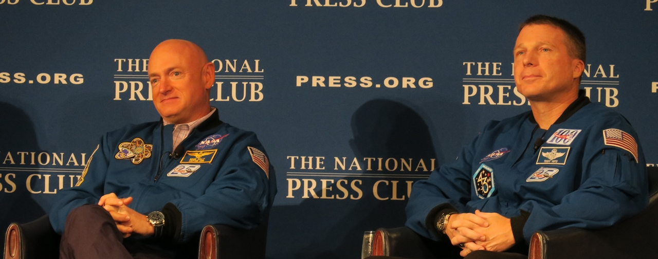 NASA Astronauts Mark Kelly and Terry Virts at a September 14 National Press Club breakfast photo credit Mark Usciak SpaceFlight Insider