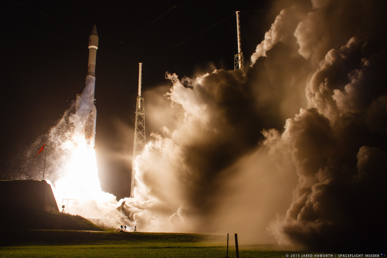 An Atlas V 421 with the Morelos-3 communications satellite lifts off from Cape Canaveral's SLC-41 at 6:28 a.m. EDT on Oct. 2. Photo Credit: Jared Haworth / SpaceFlight Insider