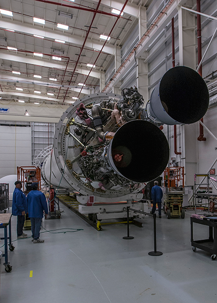 The newly-installed RD-181 engines on full display on the new, Enhanced Antares rocket. If everything goes according to plan, these engines will conduct a full power hot-fire test at the pad in early 2016. Photo Credit Patrick Black / NASA posted on SpaceFlight Insider