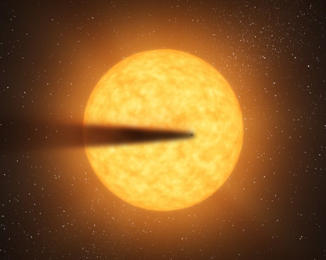 Artist concept of a planet-sized comet in front of its parent star NASA image posted on SpaceFlight Insider