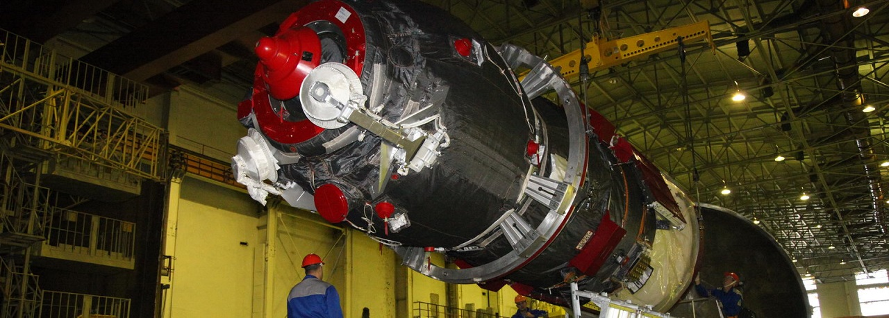 Progress-MS spacecraft in the vacuum chamber at the Baikonur Space Center.