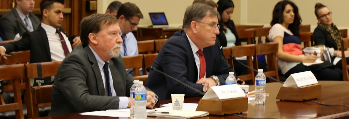 Doug Cooke (left) and Dan Dumbacher (right) testifying before the house Subcommittee on Space on Oct. 9.