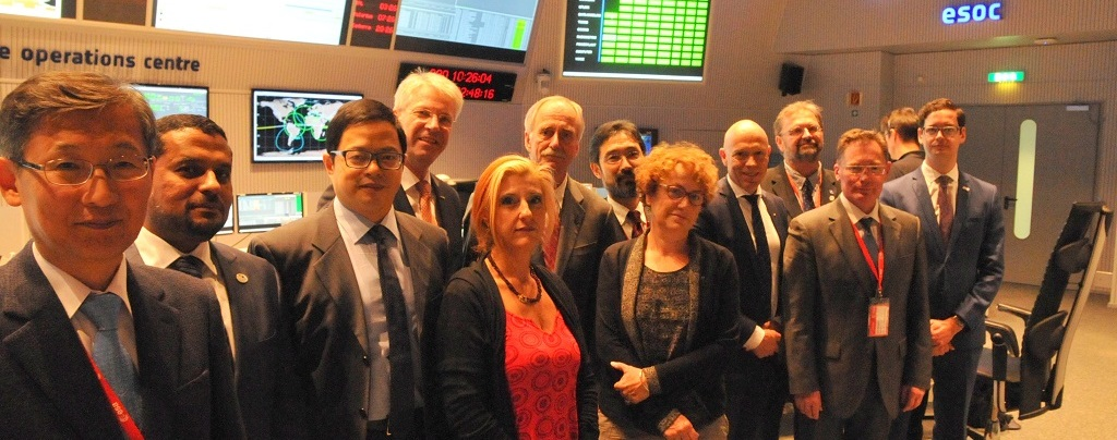 Representatives from 14 space agencies met on Wednesday, Oct. 7 at ESA's ESOC in Darmstadt, Germany.