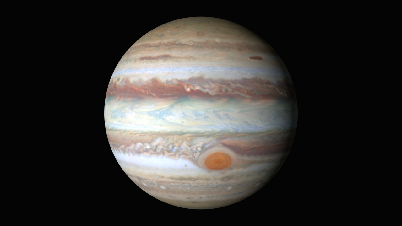 This new portrait of Jupiter was produced from observations made using NASA's Hubble Space Telescope. Image Credit: NASA/ESA/Goddard/UCBerkeley/JPL-Caltech/STScI