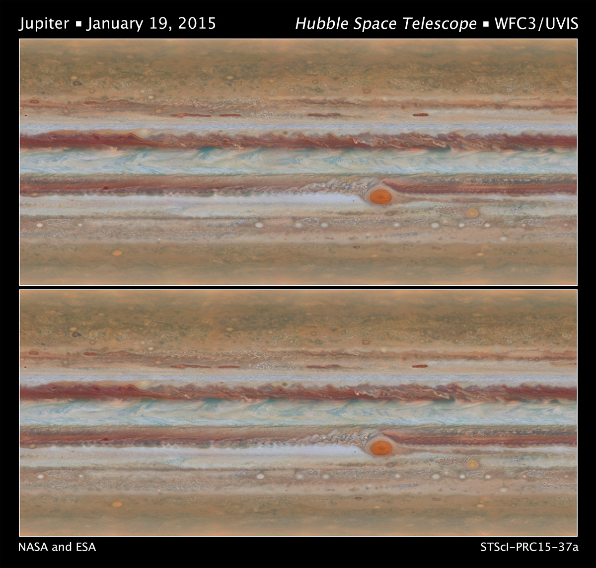 Scientists have produced new maps of Jupiter using the Wide Field Camera 3 on NASA's Hubble Space Telescope. Data for the two maps shown here were taken during Hubble Outer Planet Atmospheres Legacy program observations of Jupiter on Jan. 19, 2015, from 2:00 UT to 12:30 UT (upper panel) and from 15:00 UT to 23:40 UT (bottom panel). The movement of the clouds can be seen when comparing the two maps. Image Credit: NASA/ESA/Goddard/UCBerkeley/JPL-Caltech/STScI