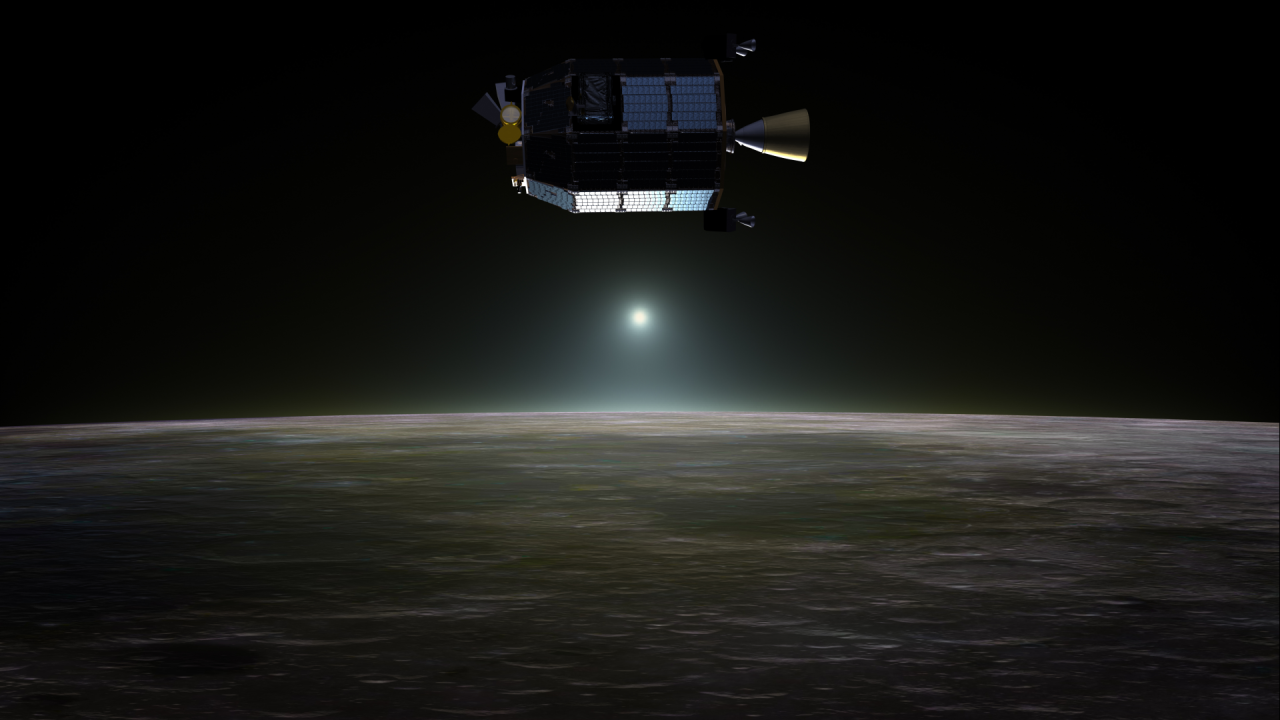 LADEE spacecraft in orbit above Earth's Moon NASA image posted on SpaceFlight Insider
