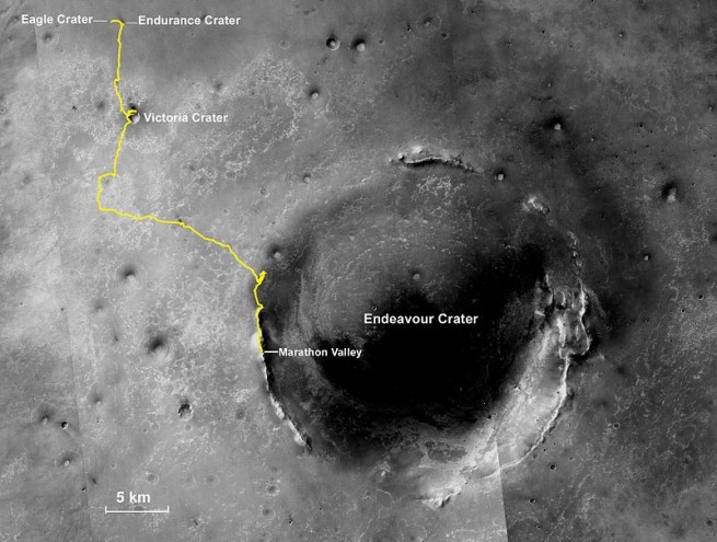 Mars Exploration Rover Opportunity path from Eagle Crater to Endeavour Crater via Marathon Valley NASA JPL-Caltech Cornell image posted on SpaceFlight Insider