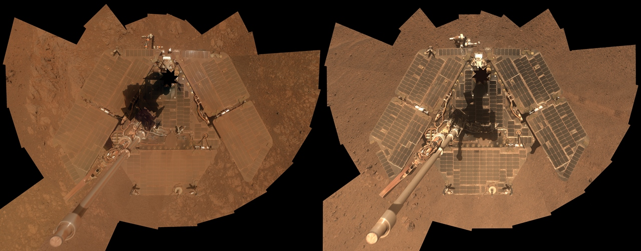 Mars Exploration Rover Opportunity solar array before and after dust devil photo credit NASA JPL Cornell Arizona University posted on SpaceFlight Insider