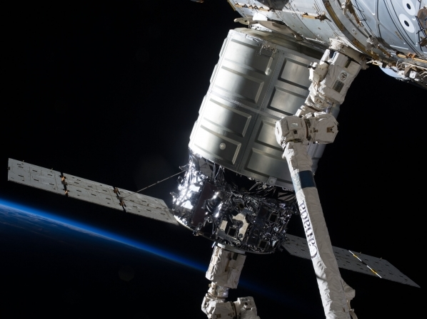 Orbital ATK Cygnus spacecraft being berthed to International Space Station NASA photo posted on SpaceFlight Insider