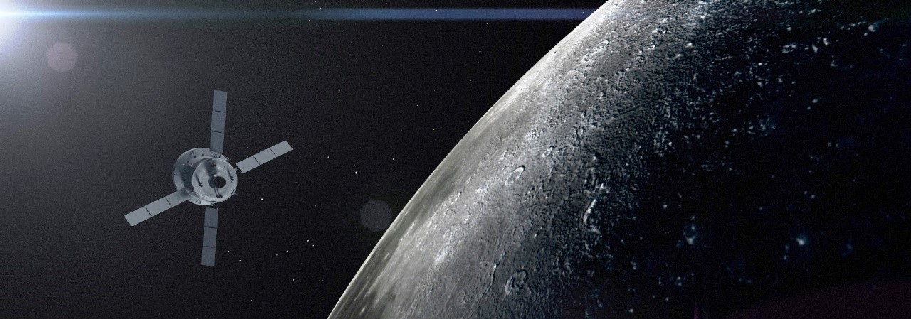 Orion spacecraft in lunar orbit above Moon on Exploration Mission 1. NASA image posted on SpaceFlight Insider