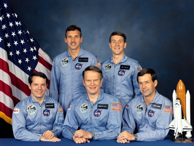 "From left-to-right: Robert Stewart, David Hilmers, Karol ""Bo"" Bobko, William Pailes, Ronald Grabe - the crew of Atlantis' first flight - STS-51J. Photo Credit: NASA posted on SpaceFlight Insider"