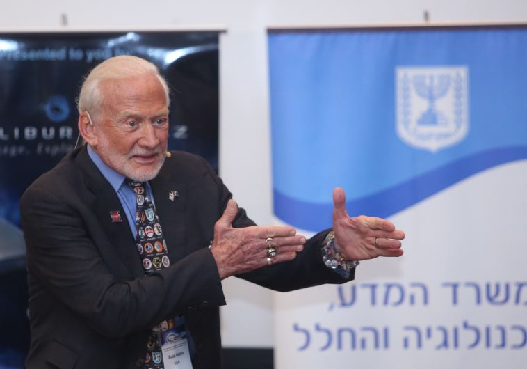 Buzz Aldrin at the International Astronautical Congress in Jerusalem, October 12, 2015.