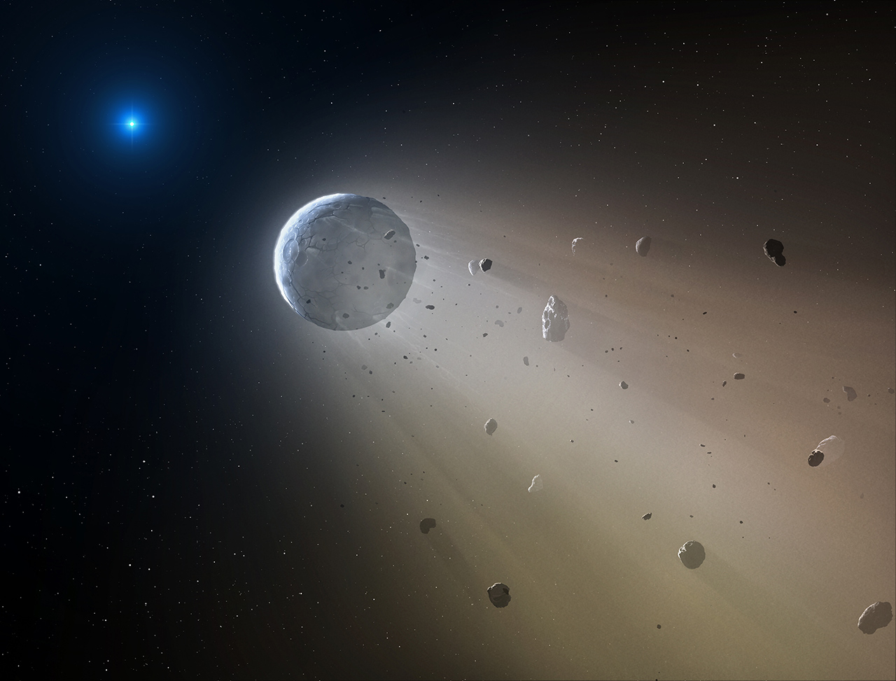 In this artist's conception, a tiny rocky object vaporizes as it orbits a white dwarf star. Image Credit: CfA/Mark A. Garlick