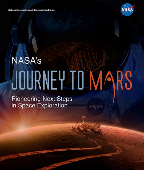 "The front cover of ""NASA's Journey to Mars: Pioneering Next Steps in Space Exploration"" report."