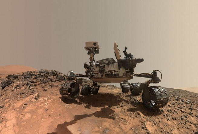 "This low-angle self-portrait of NASA's Curiosity Mars rover shows the vehicle at the site from which it reached down to drill into a rock target called ""Buckskin"" on lower Mount Sharp. Image & Caption Credit: NASA / JPL-Caltech / MSSS"