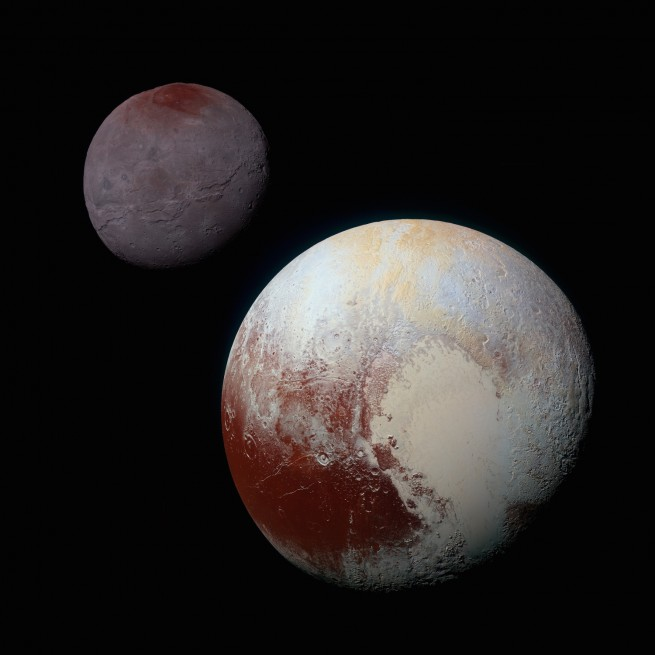 A composite of enhanced color images highlights the striking differences between Pluto and Charon.