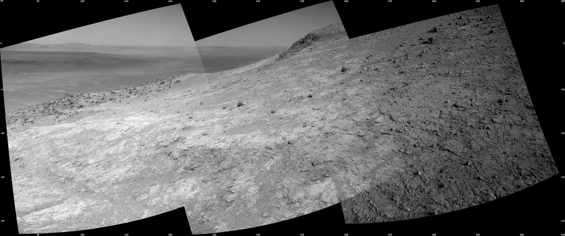 Mars Exploration Rover Opportunity Navcam mosaic from sol 4166 looking east to southeastward across the floor of Marathon Valley in the foreground and floor of Endeavour with dunes midway and far rim of Endeavour crater 22 km away in the distance. Image Credit: NASA / JPL-Caltech posted on SpaceFlight Insider