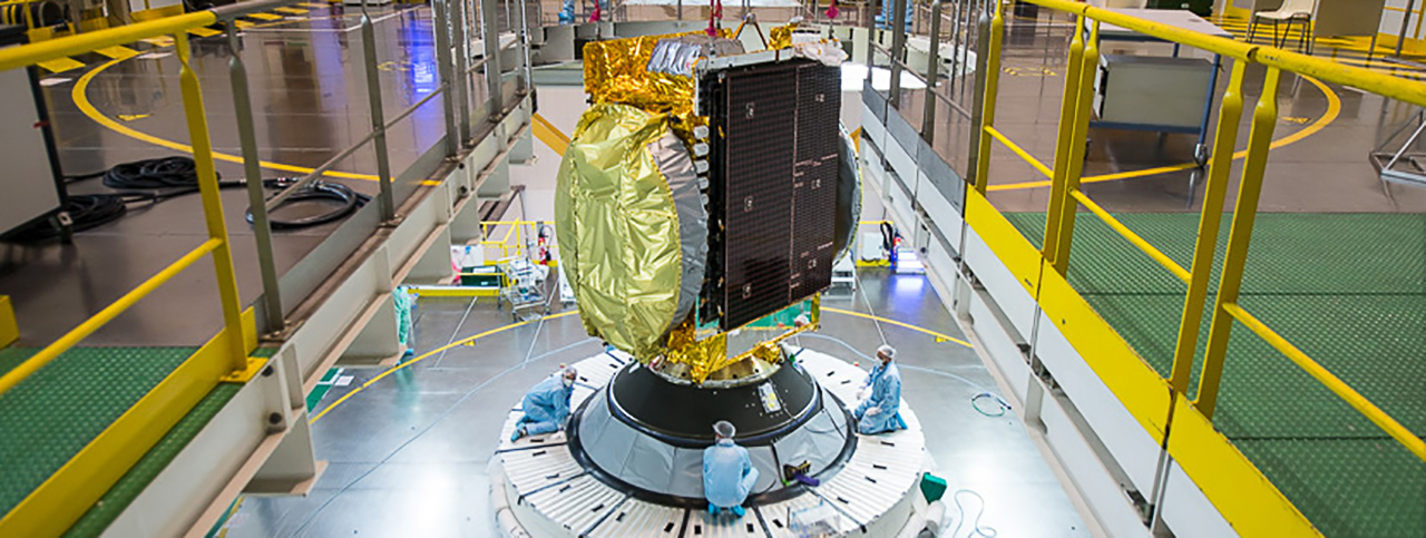 GSAT-15 is being positioned on the launch vehicle.