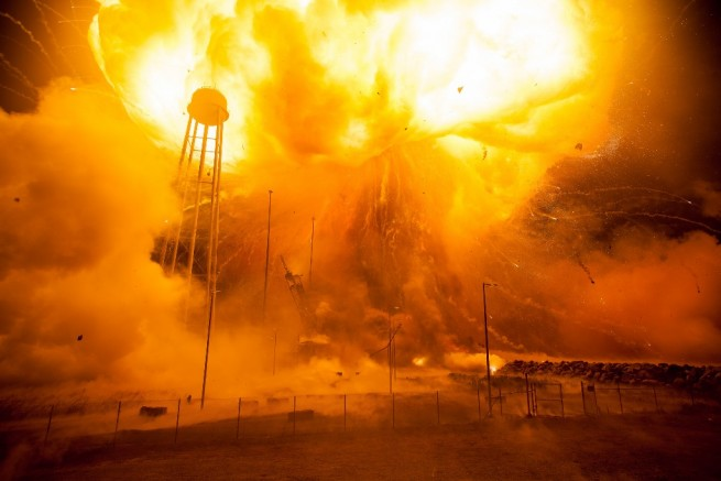 An Orbital ATK Antares booster explodes some 12 seconds after lifting off from Pad-0A at Wallops Flight Facility in Virginia NASA photo posted on SpaceFlight Insider