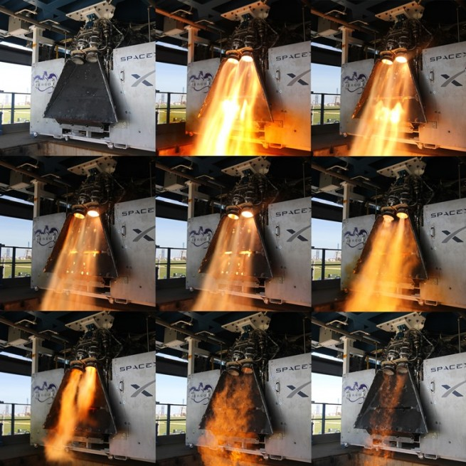 Crewed Dragon SuperDraco Test Firing in McGregor Texas SpaceX photo posted on SpaceFlight Insider