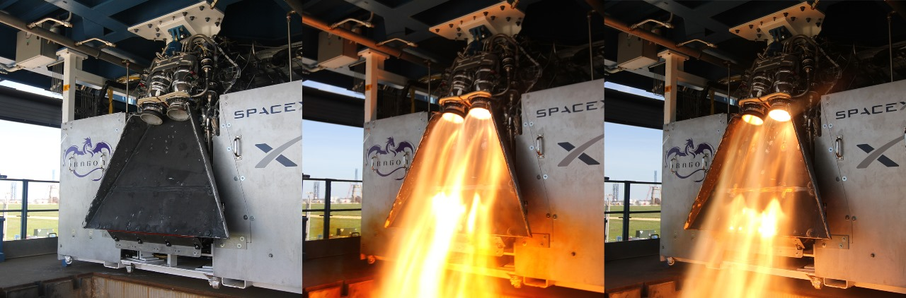 SpaceX tests out SuperDraco rocket engines test firing SpaceX NASA photo posted on SpaceFlight Insider