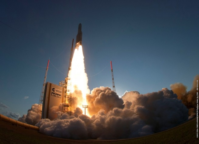 The launch of the VA-215 Ariane 5 in 2013. Arianespace has already launched five Ariane 5 rockets in 2015. Photo Credit: JM Guillon / Arianespace