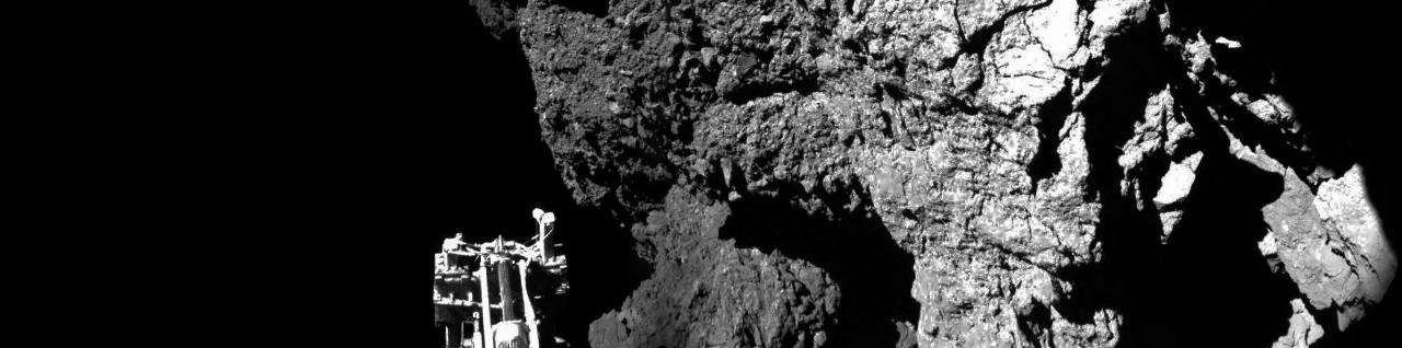 Philae lander approaching the surface of comet Comet 67P/Churyumov–Gerasimenko image credit ESA posted on SpaceFlight Insider