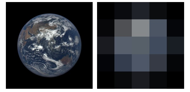 Left: EPIC image of the Earth viewed from the L1 Lagrange point. The image was acquired on August 17, 2015 at 05:42:50 UT. Right: The same image as that shown at left after it has been deconvolved to 5×5 pixel resolution.