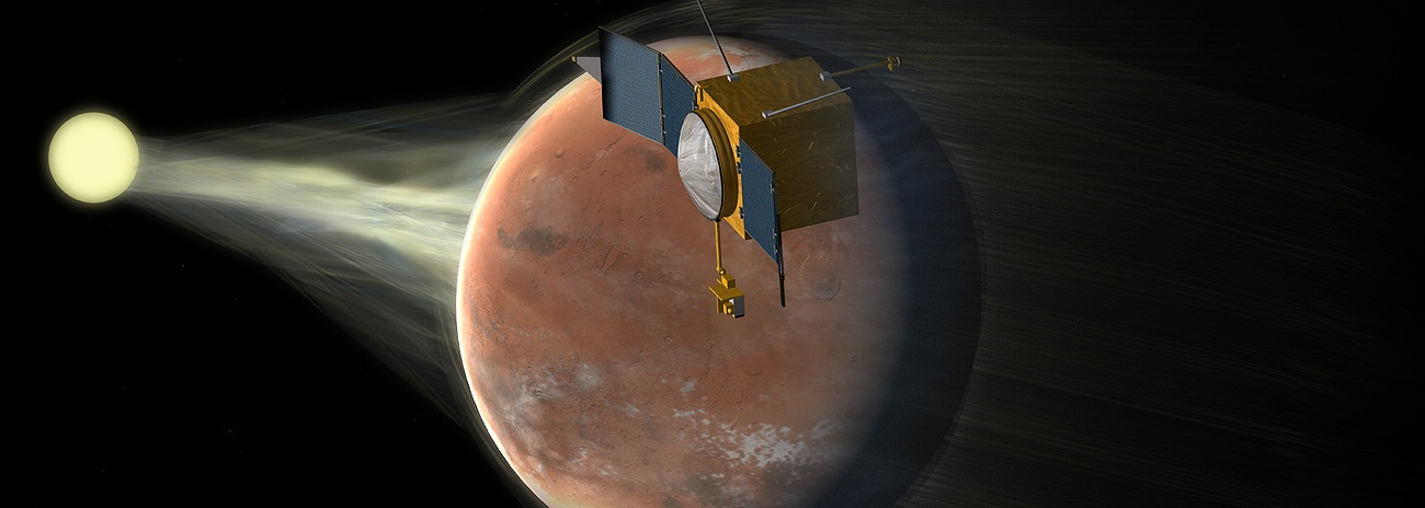 NASA's Mars MAVEN spacecraft has discovered that the Red Planet is having its atmosphere blasted away by solar wind. Image Credit: Corby Waste / JPL / NASA posted on SpaceFlight Insider