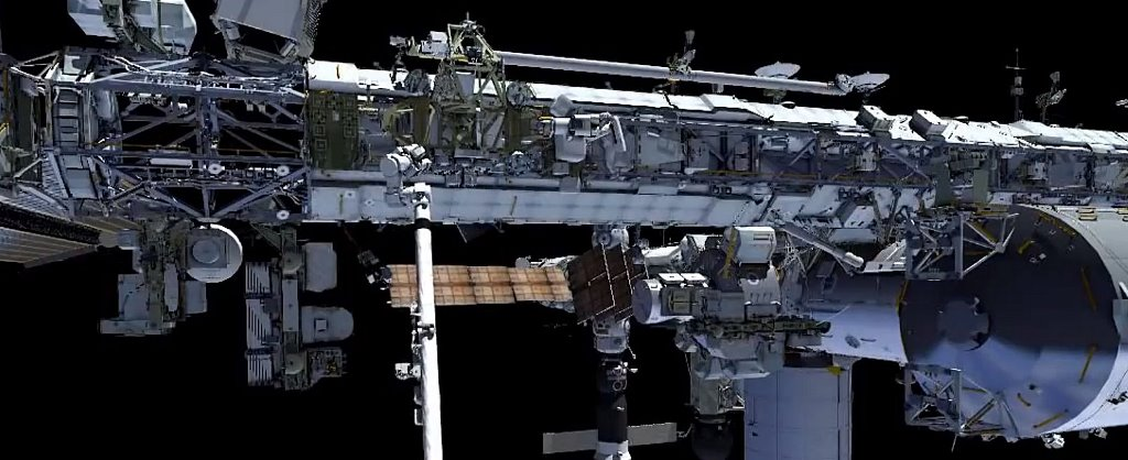 Exterior of the International Space Station NASA TV image posted on SpaceFlight Insider
