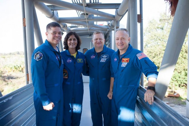 Bob Behnken, Suni Williams, Eric Boe and Doug Hurley pose during Thursday's event. Photo Credit: Kim Shiflett / NASA