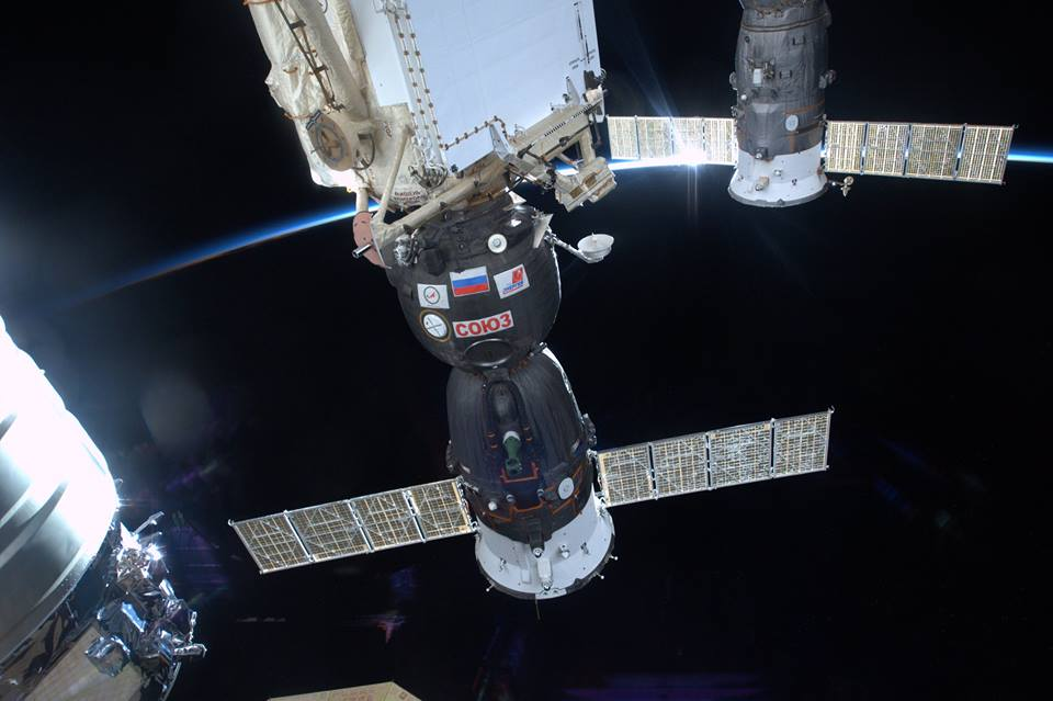Russian Soyuz and Progress spacecraft docked to the International Space Station. NASA photo posted on SpaceFlight Insider