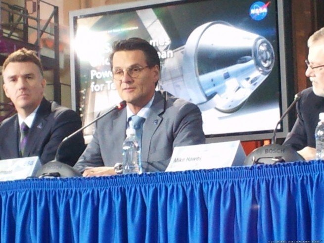 Nico Dettman, ESA Head of Development department, comments on the international cooperation between ESA and NASA in providing the ESM for the Orion program. Photo Credit: Michael Cole / SpaceFlight Insider