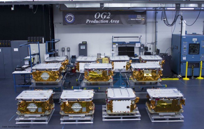 Stowed Orbcomm OG 2 satellites stowed in preparation for launch. Sierra Nevada Corporation photo posted on SpaceFlight Insider
