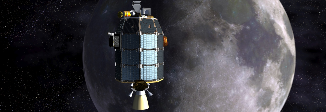 Artist's concept of NASA's Lunar Atmosphere and Dust Environment Explorer (LADEE) spacecraft in orbit above the Moon. Image Credit: NASA