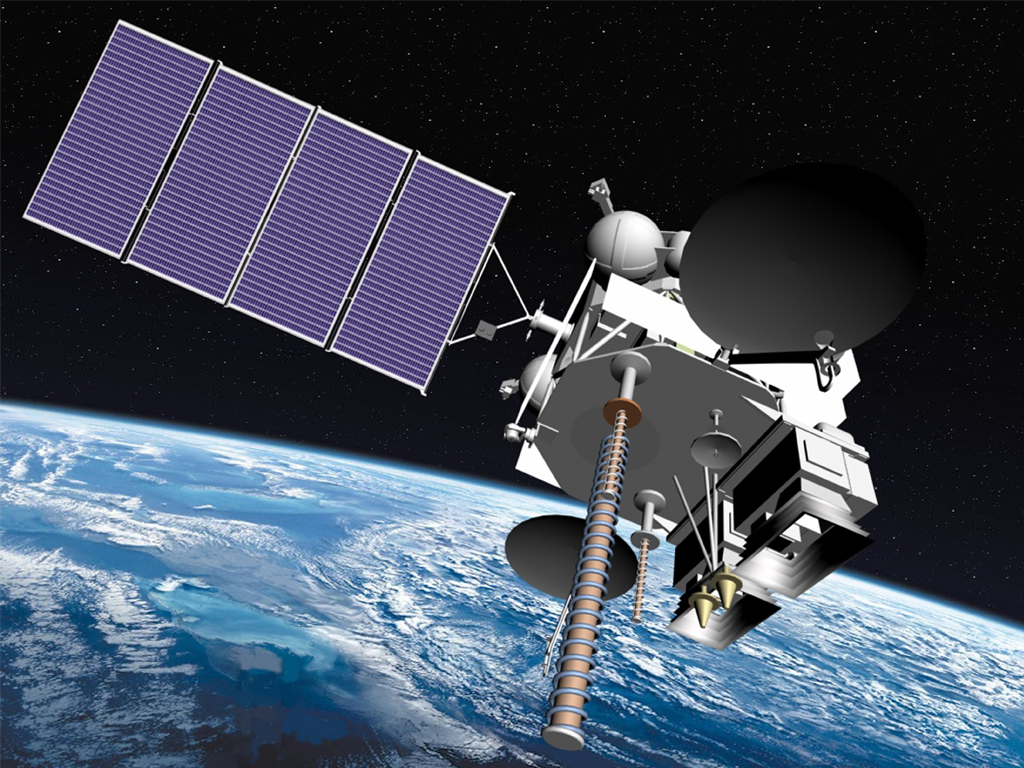 An artist's rendering of the Elektro-L satellite in orbit.