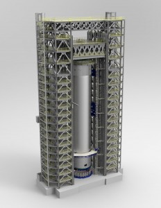Artist's concept of completed test stand containing SLS core stage LH2 tank. Photo Credit: NASA