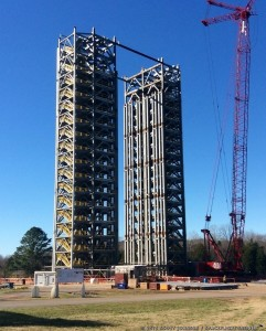 MSFC Test Stand 4693 under construction. Photo Credit: Scott Johnson / SpaceFlight Insider