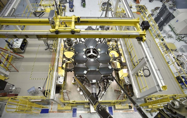 This overhead shot of the James Webb Space Telescope shows the nine primary flight mirrors installed on the telescope structure in a clean room at NASA's Goddard Space Flight Center in Greenbelt, Maryland. Photo Credit: NASA's Goddard Space Flight Center/Chris Gunn