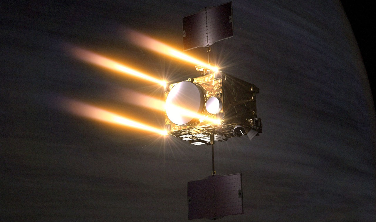 Artist's rendering of the Akatsuki spacecraft entering Venus orbit.