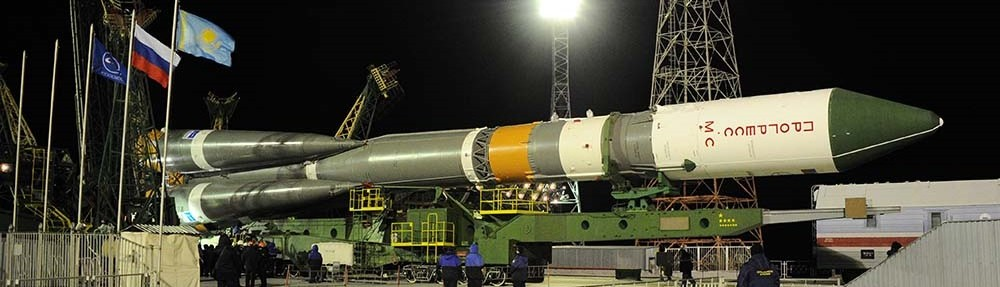 A Soyuz 2.1a rocket with the Progress MS-1 spacecraft being transported to the launch site.