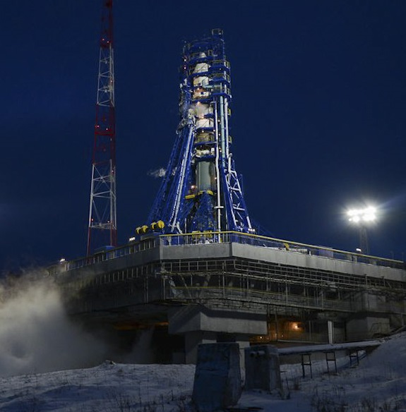 Russian Soyuz-2.1v rocket minutes before the launch of two satellites on Dec. 5, 2015