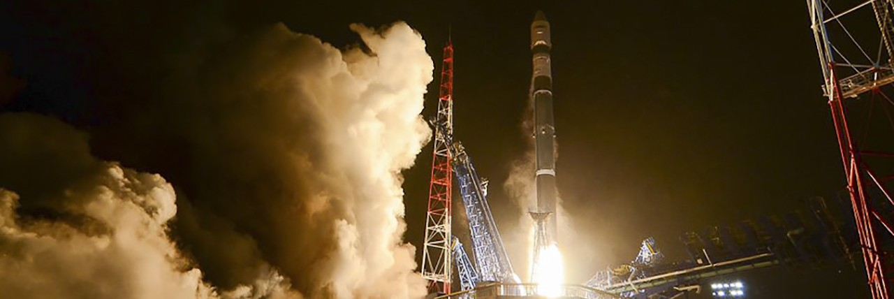 Russian Soyuz-2.1v rocket launches two satellites on Dec. 5, 2015.