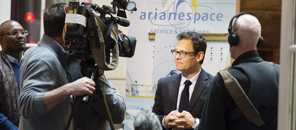Arianespace Chairman and CEO Stéphane Israël responds to journalists' questions following the Arianespace New Year's press conference in Paris on Jan. 5, 2016.