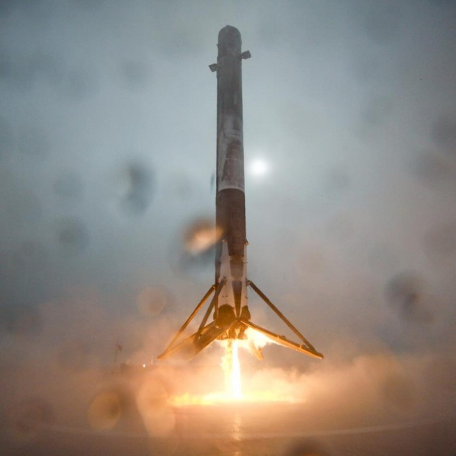 SpaceX Falcon 9 v1.1 rocket ocean landing attempt during NOAA Jason-3 launch SpaceX photo posted on SpaceFlight Insider