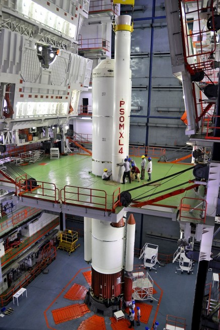 Integration of an 'XL' strap-on motor with the Core Stage of PSLV-C31 in progress.