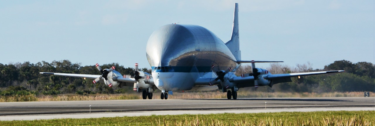 NASA Super Guppy Kennedy Space Center Shuttle Landing Facility with Orion EM-1 spacecraft photo credit Laurel Ann Whitlock SpaceFlight Insider