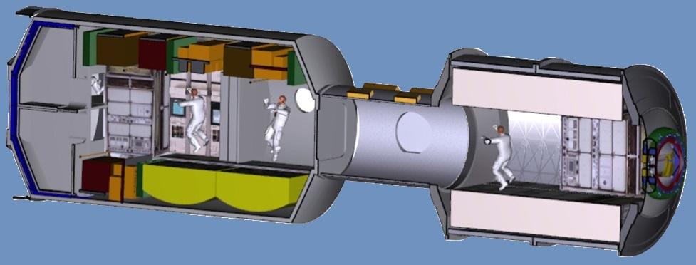 The ISS-derived Deep Space Habitat concept demonstrator evaluation will focus on the following elements, from left to right, Lab/Hab, tunnel, and Multi-Purpose Logistics Module (MPLM). image credit NASA posted on SpaceFlight Insider
