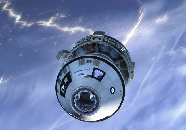 Artist depiction of CST-100 Starliner in orbit above Earth Boeing image posted on SpaceFlight Insider - Copy